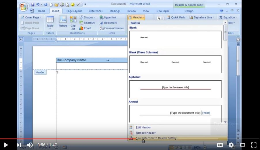 The Office Expert - Create and Save a Custom Header in Word