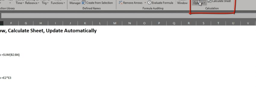 Update Excel Formulas Automatically